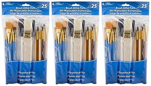 3-PACK - Loew-Cornell 245B Brush Set, Pack of 25, Multi Color