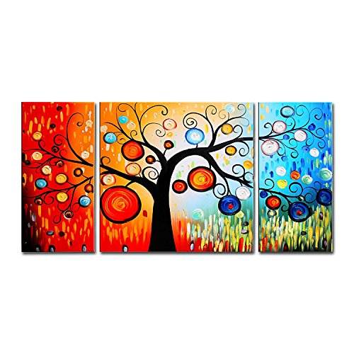 FLY SPRAY Oil Paintings Canvas Wall Art 3-Piece Hand-Painted Panels Stretched Framed Colorful Tree Red Flora Ring Circle Modern Abstract Artwork Living Room Bedroom Office Home Decor