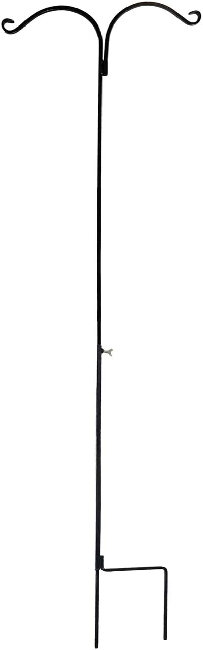 Ashman Shepherds Hook 65 Inch Two Sided Shepherd Hook, 1/2 Inch Thick, Super Strong, Rust Resistant Steel Hook Ideal for Use for Hanging Plant Baskets, Bird Feeders, and Weddings