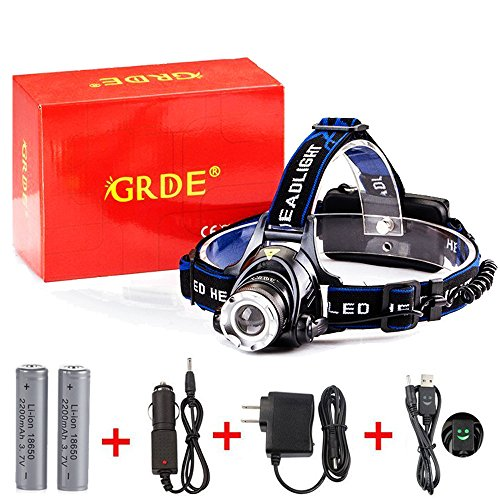 GRDE Zoomable 3 Modes Super Bright LED Headlamp with Rechargeable Batteries, Car Charger, Wall Charger and USB Cable by GRDE (Image #5)