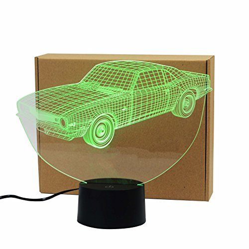 - Classic Muscle Cars Crown Colorful Sport Patterns Acrylic Visual Touch Table Lamp Bar Art Decor USB 3D LED Desk Night Light 3D-TD127