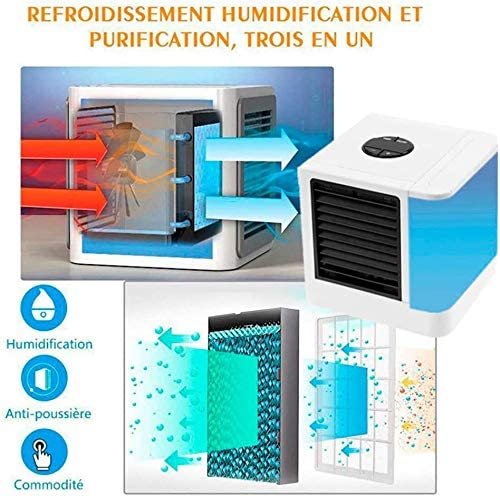 Portable Air Cooler Mini Air Conditioner Mini Evaporative Coolers Purifier 3 in 1 Personal Desktop Cooling Fan Humidifier 7 LED Lights for Home,Office Work Outdoor Kids Bedroom