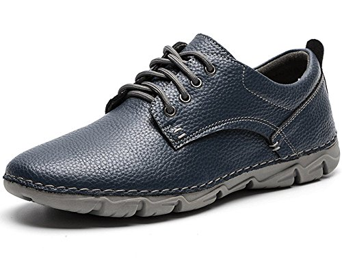 Yahao Men's Casual Leather Shoes,Oxfords Classic Modern Dress Lace up Shoe,Walking Sneaker(Blue,Size 11) (Classic Leather Mens Walking Shoes)