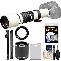 Vivitar 500mm f/8.0 Telephoto Lens (T Mount) (White) with 2x Teleconverter (=1000mm) + LP-E8 Battery + Monopod Kit for Canon EOS Rebel T3i, T4i, T5i Camera