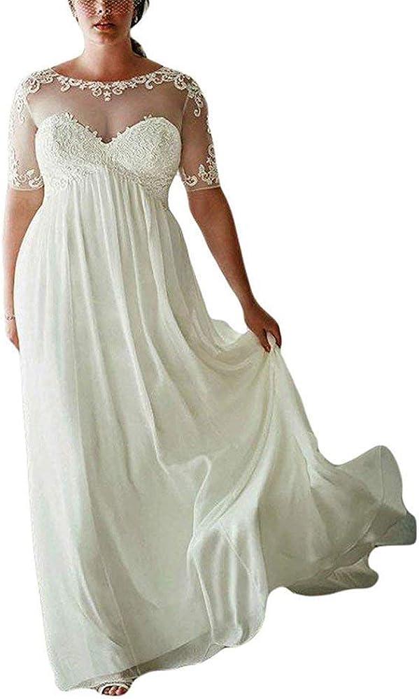 DreHouse Women\'s Chiffon Vintage Beach Wedding Dresses with Half Sleeves  Plus Size