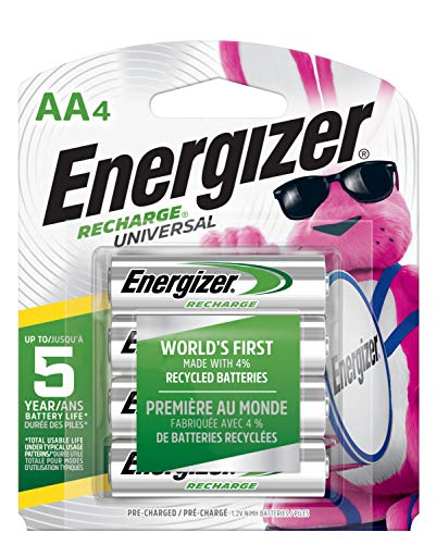 Energizer Rechargeable AA Batteries, NiMH, 2000 mAh, Pre-Charged, 4 count (Recharge Universal) - Packaging May Vary (Aa Rechargable Batteries)