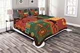 Lunarable Ethnic Bedspread Set Queen Size, Funky Tribal Pattern Depicting African Style Dance Moves Instruments Spiritual Art, Decorative Quilted 3 Piece Coverlet Set with 2 Pillow Shams, Multicolor