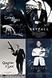 Spectre Blu Ray & Daniel Craig Collection Steelbook Skyfall, Casino Royale Blu Ray+ DHD & Quantum of Solace James Bond Steelbook Set 4 Pack 007 Set Limited Edition Movies