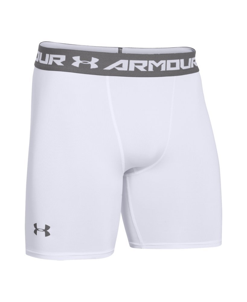 Under Armour Men's HeatGear Armour Compression Shorts – Mid, White (100)/Graphite, Large by Under Armour (Image #4)