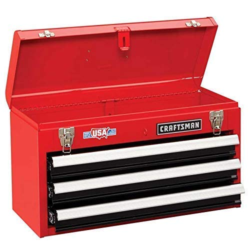 (Craftsman 3-Drawer Metal Portable Chest Toolbox Red)