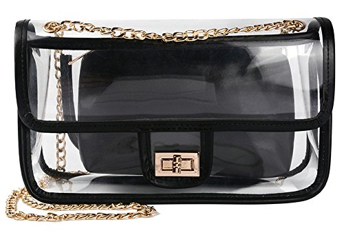 Clear Crossbody Bag for Women,The Transparent Tote bag with Chain Messenger Shoulder Handbag Purse for Stadium Approved by wanture (Image #5)