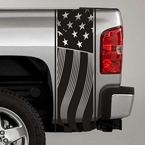 Jeepazoid - Truck Bed Stripe Decal - USA Flag Universal Fit - Matte Black Sticker - (Pair - Left and Right) ()