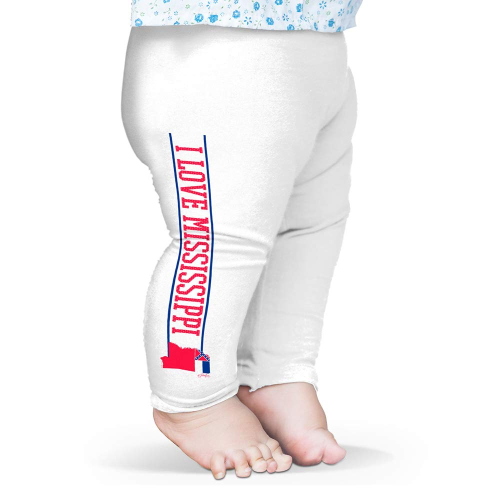 Twisted Envy Baby Pants I Love Mississippi State Flag Baby and Toddler Girls Leggings