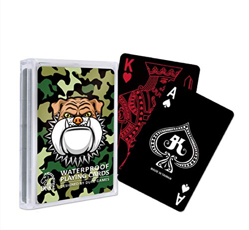 Black Waterproof Plastic Playing Cards with Bulldog Design Backing