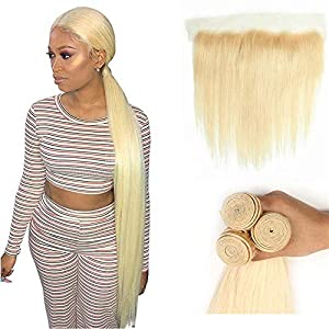 8-40Inch 613 Blonde Brazilian Virgin Hair 13×4 Lace Frontal with Bundles Straight 3 Bundles with Frontal 100…