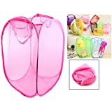 TriEcoWorld (BUY 3pcs at 2pcs price) High Quality Laundry Basket Foldable Pop Up Mesh Washing Bag Bin Hamper Toy Tidy Storage Clothes Underwear Case Frame, Hot Pink
