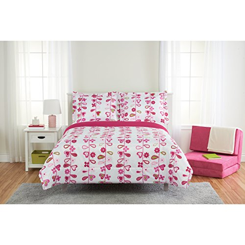 Price comparison product image 3 Piece Girls White Pink Red Floral Heart Vine Themed Comforter Full Set, Girly Fun Multi Love Hearts Vertical Dot Vines Bedding, Bright All Over Green Leaf Flower Pattern, Polyester