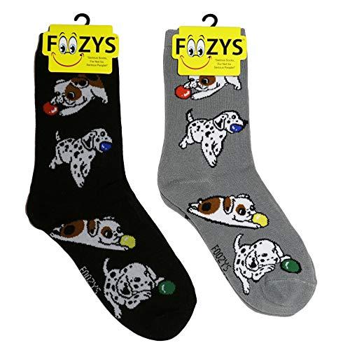 Foozys Women's Crew Socks | Playful Puppies Farm Novelty Socks | 2 Pair ()