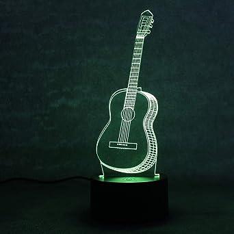 Creative 3D Visual Table Lamp LED colorido cambiante novedad dormitorio noche de noche música ligera seis