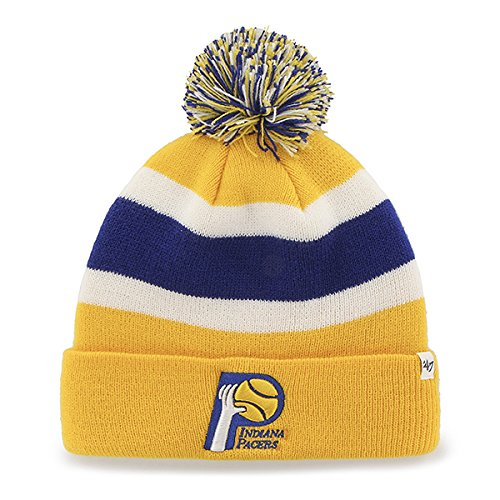 "Indiana Pacers Gold Cuff ""Breakaway"" Beanie Hat with Pom - NBA Cuffed Winter Knit Toque Cap"