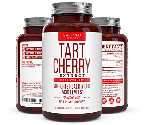 (Extra Strength Tart Cherry Extract 1500mg Plus Celery Seed and Bilberry Extract -Anti Inflammatory, Antioxidant Supplement, Uric Acid Support, Muscle Recovery and Joint Pain -90 Veggie Capsules​)