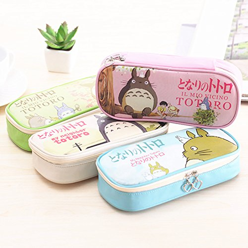 Adorable Totoro Pencil Case Cute Cartoon Stationery Bag Case Waterproof Pu Leather Pen Pouch (Pink)