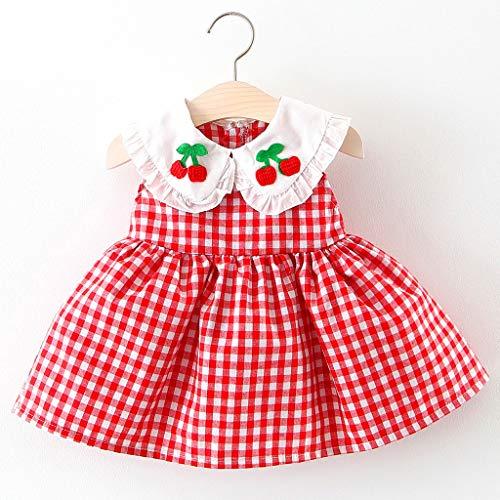 Matoen Newborn Baby Girl Dress Plaid Cherry Embroideried Ruffled Doll Neck Princess Sundress (0-6 Months, Red) ()