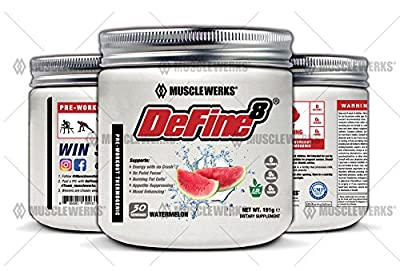 DeFine8: Fat Burner for Women and Men, Pre-Workout Thermogenic - Watermelon - NEW ADVANCED FORMULA, Appetite Suppressant, Boosts Metabolism & Curbs Sweet Cravings for Weight Loss. 30 Servings