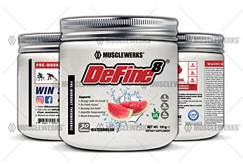 DeFine8: Fat Burner, Pre-Workout Thermogenic - Watermelon - NEW ADVANCED FORMULA, Appetite Suppressant, Boosts Metabolism & Curbs Sweet Cravings for Weight Loss. 30 Servings