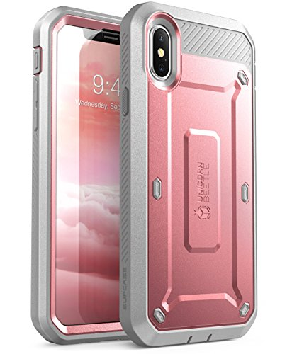 SUPCASE Unicorn Beetle Pro Series Case Designed for iPhone X, with Built-In Screen Protector Full-body Rugged Holster Case for Apple iPhone X / iPhone 10 (2017 Release) (RoseGold)