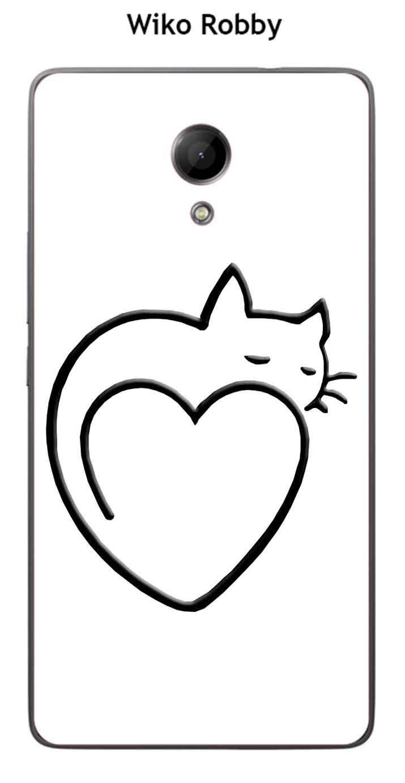 Onozo Carcasa Wiko Robby Design gato corazón fondo Negro ...