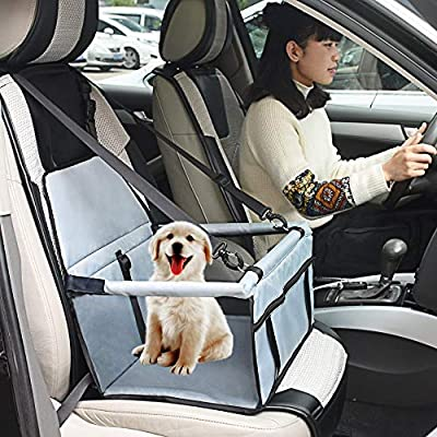 WOPET-Pet-Booster-SeatDeluxe-Pet-Dog-Booster-Car-Seat-with-Clip-On-Safety-Leash-and-Zipper-Storage-Pocket-Perfect-for-Small-and-Medium-Pets-up-to-20-lbs-Grey