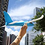 Wenasi Throwing Glider Inertia Plane Foam Aircraft Toy Hand Launch Airplane Model Outdoor Sports Toy for Kids Children Boy Girl as Gift (Blue)