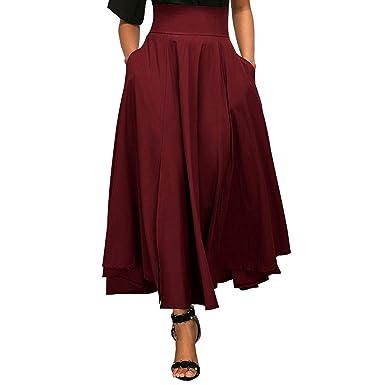 a9904c66a47c SODIAL Jupe longue plissee evasee a taille haute de couleur unie avec  ceinture pour les femmes ...