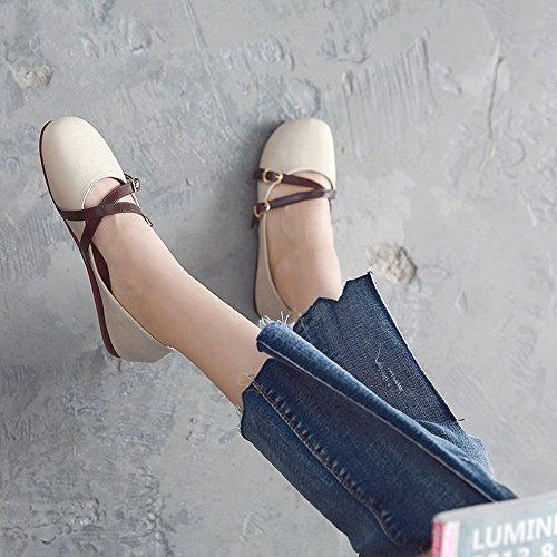 Taille Flats Comfort 5 FUFU Casual Career Summer Lady Beige Chaussures Flat Autumn sport PU de pour Heel Office Toe Noir CN35 Round Shoes Couleur UK3 amp; EU36 zCSqS1w