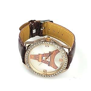 Tonsee(TM) 1PC Eiffel Tower Design Quartz Wrist Watch For Woman Men (Brown1)