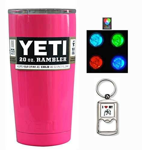 YETI Coolers Custom Insulated Stainless Steel 20 Ounce (20oz) (20 oz) Rambler Tumbler Travel Cup Mug with Lid (Hot Neon Pink)