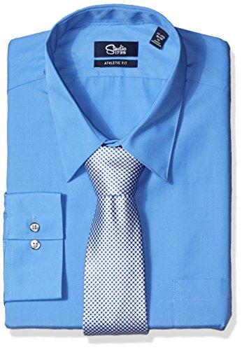 Studio 1735 Men's Dress Shirt Combo Neat Tie Athletic, Pacifico, 18-18.5