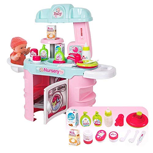 Roxie Kitchen Playset for Kids, Laugh and Learn Kitchen Set Creative Nursery Play Activity Center Educational Toy for Toddlers Boys Girls (Doll Nursery Baby Center)
