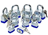 Premium Heavy Duty Laminated Padlocks Keyed Alike (30mm, 40mm, 50mm, 4 Piece Each Size), Set of 12