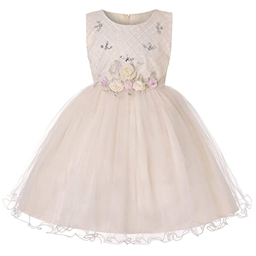 c8d21cf3312 Flower Girls Lace Princess Tulle Wedding Dress for Kids Embroidered Prom  Formal Pageant Baptism Birthday Christening