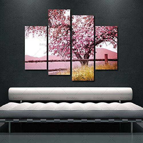 ALENIS 4 Sets Red Plum Blossom Flowers Wall Pictures For Living Room Large HD Wall Art Canvas Modular Pictures Oil Painting