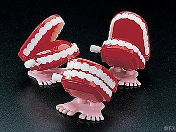 Fun Express Plastic Wind-Up Chomping Teeth (12 Pack)