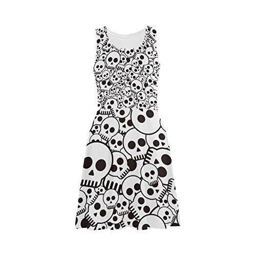 Women's Sugar Skull Dia De Los Muertos Polyester Casual Sundress S (Morphsuit Sun Glasses)