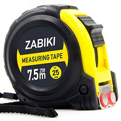 Zabiki Measuring Tape Measure, 25 Ft Dual Side Ruler, Metric, Inches and Imperial Measurement, Retractable and Sturdy with Magnetic Hook and Rubber Case for Protection