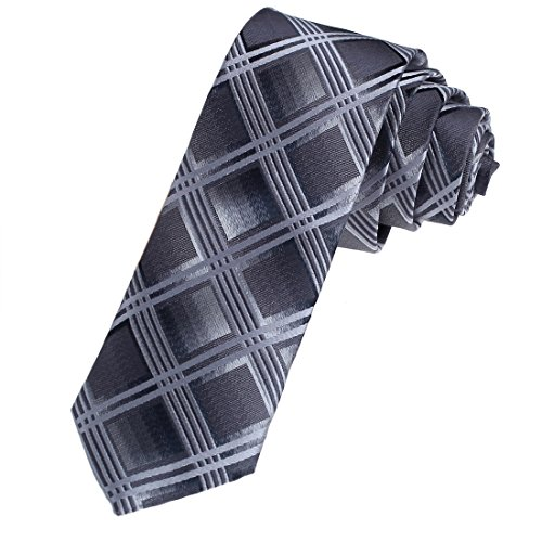 DAE7C03D Grey Possibly Thin Neckties Woven Microfiber Skinny Tie Checkered Handmade Design By Dan (Handmade Woven Skinny Tie)