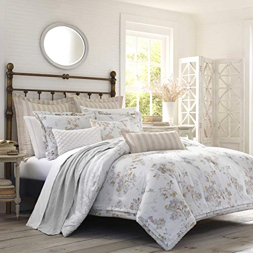(Laura Ashley Lorene Comforter Set, King, Natural)