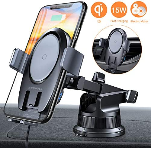 VANMASS 15W Wireless Car Charger Mount, Electric Automatic Clamping Dashboard Air Vent Windshield Phone Holder,Qi Fast Charging Compatible with iPhone 11 Pro Max Xs X 8,Samsung S10 S9 Note10, LG V30