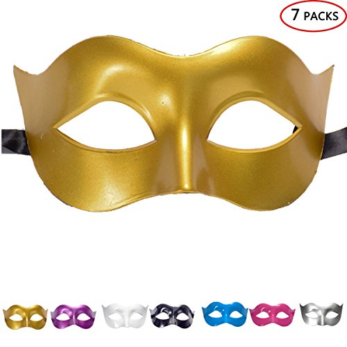Creeper Costume Template (Skyflying 7PCS Halloween Mask Costumes Cover Half Face (Golden))