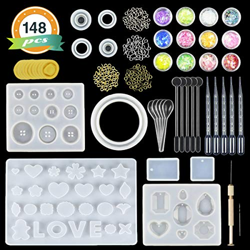 (LET'S RESIN Jewelry Making Molds 10 Pack Silicone Molds for Resin Jewelry - Resin Casting Molds Kit with Tools including Hand Twist Drill, Screw Eye Pins,Plastic Stirrers/Spoons/Droppers & Mylar Flakes,)